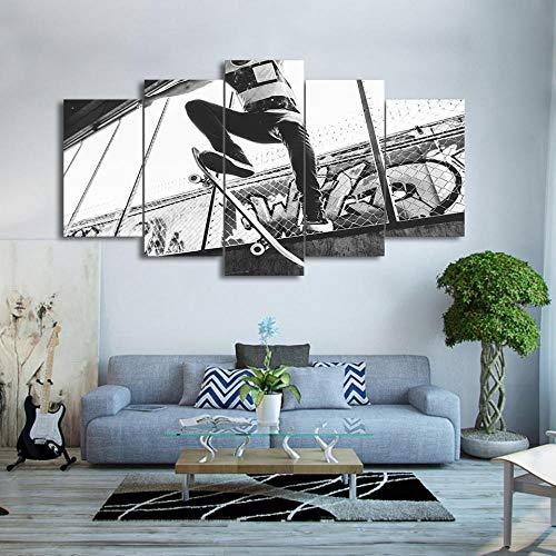 GBxebenYN02 5 Paneele Skateboard Extremes Glück schwarz und weiß Dekorative Leinwand5 Sätze von Studie Home Dekoration Leinwände Mode Kunstwerk Leinwand Dekoration 200x100cm