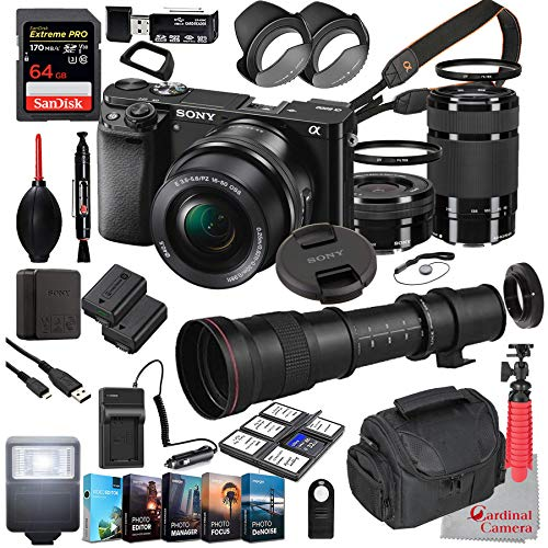 Sony Alpha a6000 Mirrorless Camera with 16-50mm and 55-210mm Lenses Bundle + Extreme Speed 64GB Memory + T-Mount 420-800mm Telephoto Zoom Lens (33 Items)