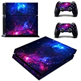 Decal Moments PS4 Console Set Vinyl Skin Decal Stickers Protective for PS4 Playstaion 2 Controllers-Purple Galaxy