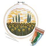 Unime Embroidery Starter Kit with Pattern Full Range Embroidery Kit with Embroidery Cloth, Embroidery Hoop, Color Threads, Needles (Flower field02)