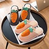 DRTWE Zapatillas,Parejas 3D Zanahoria Acogedora Transpirable Invierno Corto Felpa Zapatillas Calient...