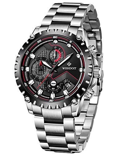 WISHDOIT Relojes Hombre Impermeable Deportes Cuarzo Analógico Cronógrafo Reloj de Vestir Moda Negro Esfera Grande con Plata Acero Inoxidable Correa