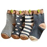 Happy Cherry Vintage Baby Mädchen 4 Paar Socken Set Weich Baumwolle Süß & Lieblich Gepunkt Gestreift 0-36 Monate (Dunkelblau, 12-36 Monate)