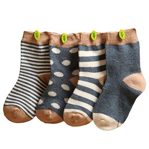 Happy Cherry Vintage Baby Mädchen 4 Paar Socken Set Weich Baumwolle Süß und Lieblich Gepunkt Gestreift 0-36 Monate (Dunkelblau, 6-12 Monate)