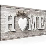 Bilder Home Herz Wandbild 100 x 40 cm Vlies - Leinwand Bild XXL Format Wandbilder Wohnung Deko Kunstdrucke - MADE IN GERMANY - Fertig zum Aufhängen 504412a