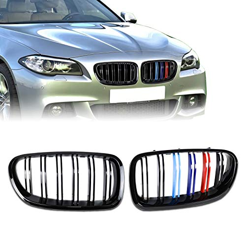 DSISIMO 1 Pair Glossy Black Front Hood Grill Front Kidney Grille Grill Replacement Fit For 2010-2016 BMW 5-Series F10 F11 F18 520i 528i 530i 535i 535d 550i M5 Sedan 4-Door