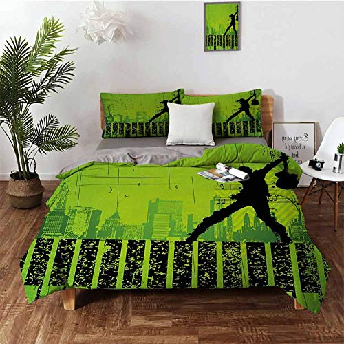 Coobal Popstar Party Bedding 3-Piece Full Bed Sheets Set Girls/Kids/Teens Twin Music in The City Theme Singer with Electric Guitar on Grunge Backdrop Lime Green Black