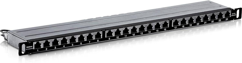 TRENDnet 24-Port CAT6A Shielded Half-U Patch Panel, TC-P24C6AHS, 10G Ready, Half The Height of Standard 1U Patch Panels, Metal Rackmount Housing, CAT5e/Cat6/CAT6A Compatible, Cable Management