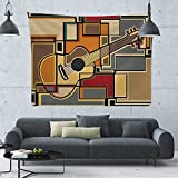 C COABALLA Mosaicof an Acoustic Guitar,50''x60'',Tapestrieswall Hanging Moon