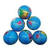 Sohapy 2.48'' Mini Squeezable Globe Stress Balls,Tension Reliver Balls,Party Favor,Soft PU Globe Ball,Earth Pattern,Party Toys (6 PCS)