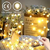 YINUO LIGHT Cadena de Luces, 15m 100 LED Guirnalda Luces Impermeable 8 Modos Luz Guirnaldas Luminosas Decorativas para Exterior y Interior, Jardines, Boda, Arbol de Navidad (Blanco Cálido)