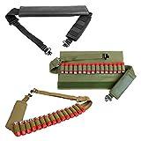 HWZ Tactical 2 Point Shotgun Sling 15 Shell Ammo Holder Bandolier 12Ga Nylon Shotgun Shell Sling