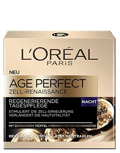 L'Oréal Paris Age Perfect Zell-Renaissance Nachtcreme, regenerierende Tiefenpflege mit schwarzem Trüffel und Schwarztee, stimuliert die Zell-Erneuerung reifer Haut, 50ml