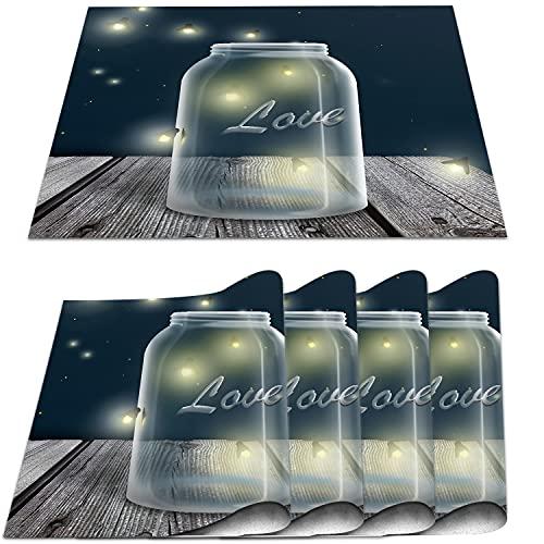 COFEIYISI Manteles Individuales Juego de 4,Tarro de Cristal con luciérnagas de Medianoche Salvamanteles Resistentes al Calor Lavables Vinilo PVC para la Mesa de Comedor de Cocina 30x45cm