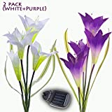 MYGOTO Solar Garden Stake Lights Outdoor, 2 Pack Solar Powered Lights, Lily Flower Lights,...