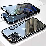 Funda para iPhone 12/12 Pro Magnética Carcasa,iPhone 12 Pro (6.1') Funda Protectora de Cuerpo Completo 360° Cristal Templado Cover con Protector de Pantalla,Antigolpes Rugged Metal Bumper Case,Negro