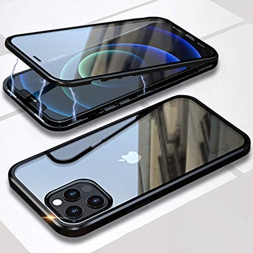 Cover per iPhone 12 PRO Max,Custodia 360° Full Body Rigida Protezione,Adsorbimento Magnetico Bumper in Metallo,Fronte e Retro Vetro Temperato Trasparente Cover Case per Apple 12 PRO Max 6.7',Nero
