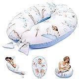 Almohada Embarazada y Cojin Lactancia 165 x 70 cm Almohada - Cojín Embarazo Maternidad Dormir y Cojines Motivo de Tren con Terciopelo Celeste