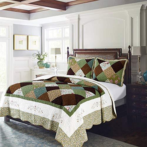 Kasentex Mehrfarbige Steppdecke mit floralem Paisleymuster, 100 % Baumwolle, weiche Hotel-Bettwäsche, Doppelbettgröße, 229 x 243,8 cm, mehrfarbiges Blumenmuster