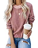 kenoce Damen Pullover Flauschig Oberteil Herbst Winter Mode Hoodie Langarmshirt Teddy-Fleece Mantel Sweatshirt Tops ohne Kapuze B-rosa S