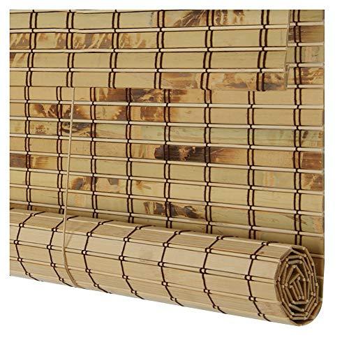 CHAXIA Rolgordijn Bamboe Schaduw Breed Bamboe Gordijn Houtskool Brandende Cover Licht Gesneden Meldauw Bewijs Binnen/extern Gebruik 3 Kleuren, Multi-size, Aanpasbaar