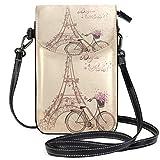 Bonjour Paris Tower Eiffel y Bicicleta pequeña Bandolera para teléfono Celular Monedero Billetera Ligera y espaciosa Bolsa para teléfono Inteligente para Mujeres niñas Adolescentes