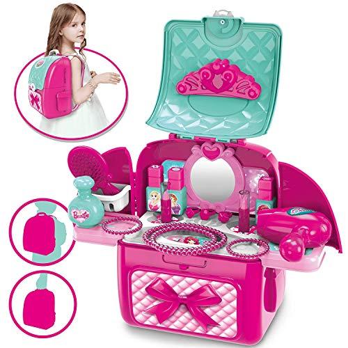 Dreamon 2 in 1 Rollenspiel Spielzeug Schminkset Rucksack Kinderfön Set mit Vielen Zubehör für Mädchen Prinzessin 3 Jahre alt