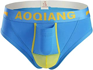 AOQIANG Mens Underwear Cotton Mesh Splicing Separate Pouch Boxer Briefs Hipster