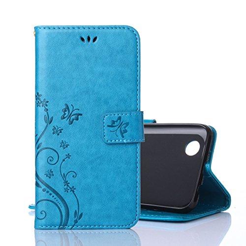 Alfort LG K4 Hülle, LG K4 Schutzhülle, Lederhülle PU Leder Tasche Cover Wallet Hülle für LG K4 Smartphone Schmetterling (Blau)