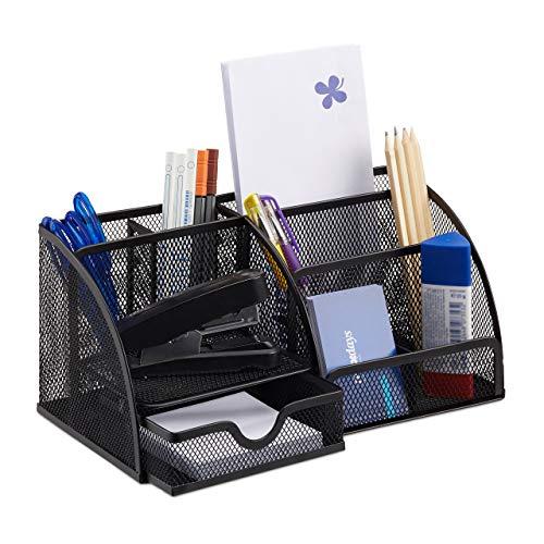 Relaxdays Schreibtischorganizer 6 Ablagen, kompakter Büroorganizer Metall, Schublade, Zettehalter, Stifteköcher, schwarz