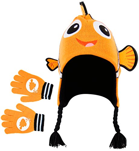 Disney Pixar Finding Nemo: Nemo Youth 3D Knit Laplander Beanie Mütze with Gloves
