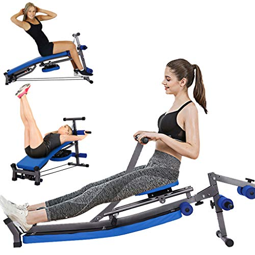 【US Shipment】Folding Reversable Sit Up Bench with Padded Seat,Multi-Function Rowing Machine Press Bench with Fitness Rope,27″-33″ Height Adjustable Abs Trainer ,Home Gym Exercise,Max Load 440Lb (Blue)