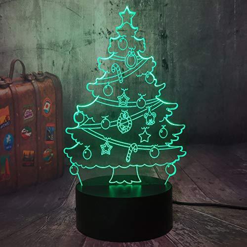 Luce notturna a LED per albero di Natale, 7 colori, funzione dimmerabile, con telecomando,...