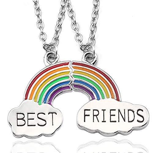 Gleamart Friendship Necklace Best Friends Necklace for 2 Rainbow
