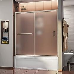 DreamLine SHDR-0960580-04-FR Infinity-Z 56 to 60-Inch  Frameless Sliding Tub Door