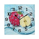 Reloj de pared cuadrado realista de manzanas rojas con dise�