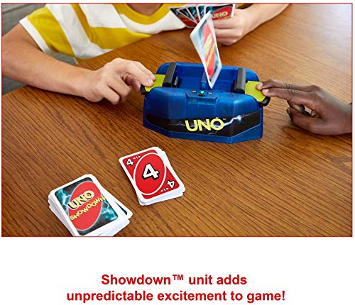 Mattel UNO Showdown Supercharged Family Card Game with 112 Cards & Showdown Supercharged Unit for Ages 7 Years Old & Up, Gift for Kid, Family or Adult Game Night, Ships in Own Container