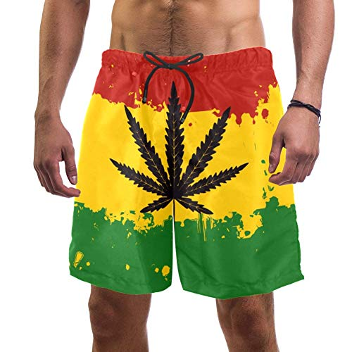 Lorvies Herren Badehose, Rastafari-Flagge, Marihuana, Cannabis-Blätter, schnelltrocknend, Größe L Gr. S 7-9, multi