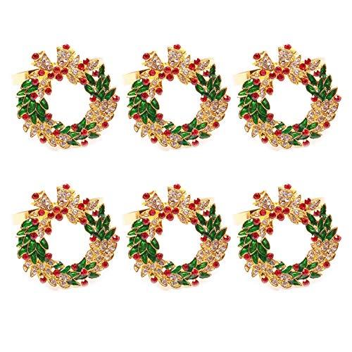 Elibeauty Weihnachtskranz Serviettenring Glocken Serviettenring Serviettenring Serviettenschnalle für Stumpenkerze Hochzeit Tafelaufsatz und Weihnachten Tischdekorationen