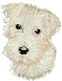 Embroidered Iron On Sew On Patch Cream Off White Miniature Schnauzer Portrait Dog Breed Applique, 6' x 4 3/4'