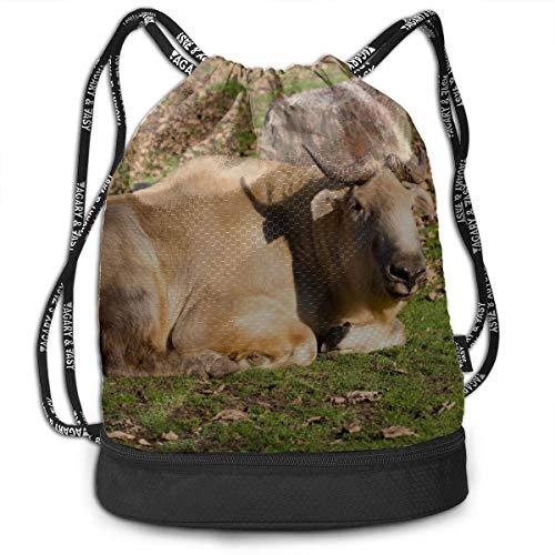 OKIJH Mochila Mochila de ocio Mochila con cordón Mochila multifuncional Bolsa de gimnasio Women Gym Drawstring Bag Cute Lucky Takin Animal Gym Drawstring Bags Backpack Sports String Bundle Backpack Fo