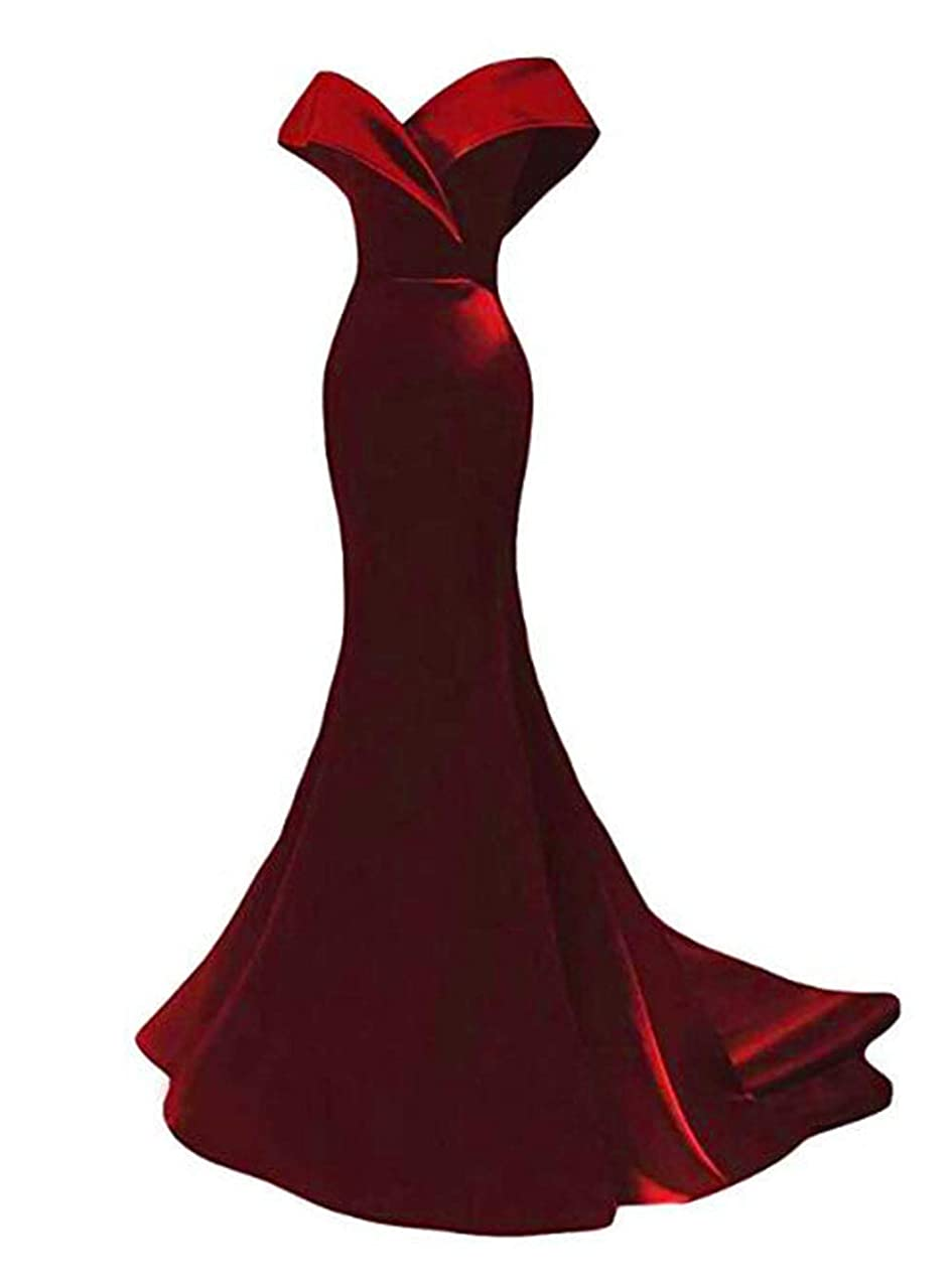 Off The Shoulder Mermaid Prom Dresses 2019 Long Satin Evening Dresses Formal Party Gowns for Women