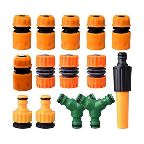 SUPRBIRD 14 Piezas Conectores de Manguera Kit, para Unir Tubo de Tubo de Manguera de Jardín (5 Conector de Manguera Rapido, 2 Conector Rápido para Grifos, 2 Manguera Doble Macho y 1 Boquilla, etc)