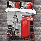 LINARUBE Juego de Ropa de Cama-Símbolos del Big Ben en la realeza de Londres,Juego de Funda Nórdica y 2 Funda de Almohada(Single 135x210cm)