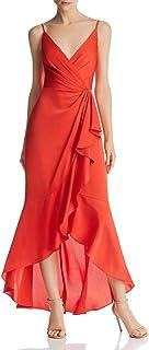 BCBG Max Azria Womens Satin Faux-Wrap Evening Dress