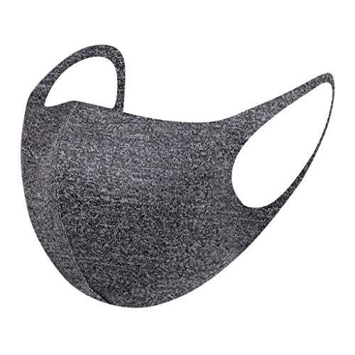 Ponfasnskall - Funda para la cara (algodón, lavable, transpirable, para mujer y hombre, reutilizable, anticontaminación) Negro gris Taille unique