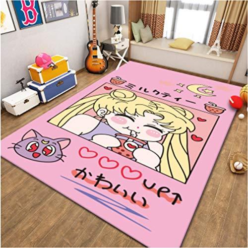 Carpet Cartoons Anime Sailor Moon Bedroom Dining Room Living Room Short Pile Nursery Children Game Rugs Home Decoration Floor Anti-Slip Fashion