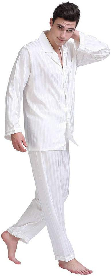 NA Men's Pajama Set Long Sleeve Sleepwear Lightweight Button Down Tops and Pants/Bottoms Classic Loungewear Set,White,M