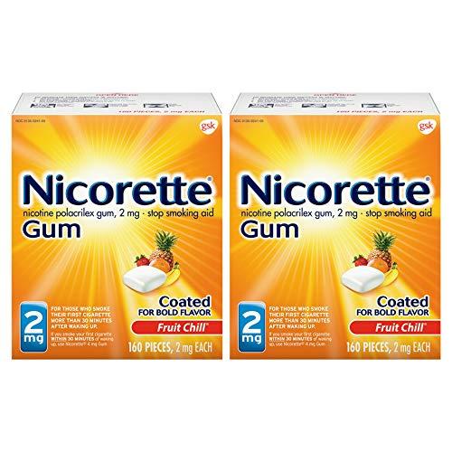 Nicorette 2mg Nicotine Gum to Quit Smoking , Fruit Chill (Pack of 2)