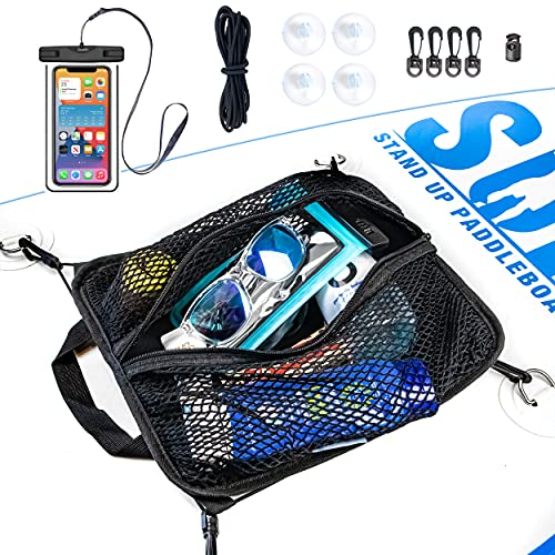 SUP-NOW Paddleboard Deck Bag with Waterproof Phone Case (Black Trim w/Bungee & 4 Clips)